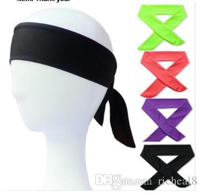 Algodão sólido Tie Headbands Trecho Sweatbands Faixa de Cabelo Umidade Wicking Workout Homens Mulheres Bandas