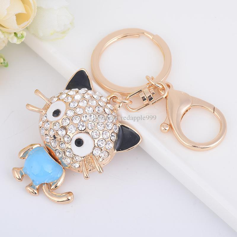 Fashion Animals Lovely Cat Keychain Crystal Rhinestone Metal Keychain Rose Gold Plated Keyring Car Keychains Purse Charms Handbag Pendant