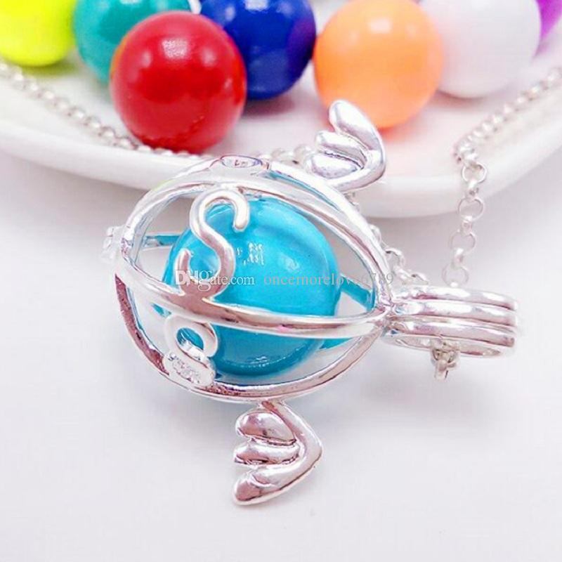 Little angel pearl accessories Disffuser Dolphins Necklace Locket Essential Oil Diffuser Necklace Hollow out Locket Cage Pendant Necklace