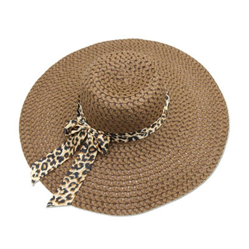 cebd5ec83 Foldable Womens Ladies Beach Sun Cap Floppy Leopard Bow-Tie Wide Brim Straw  Hat