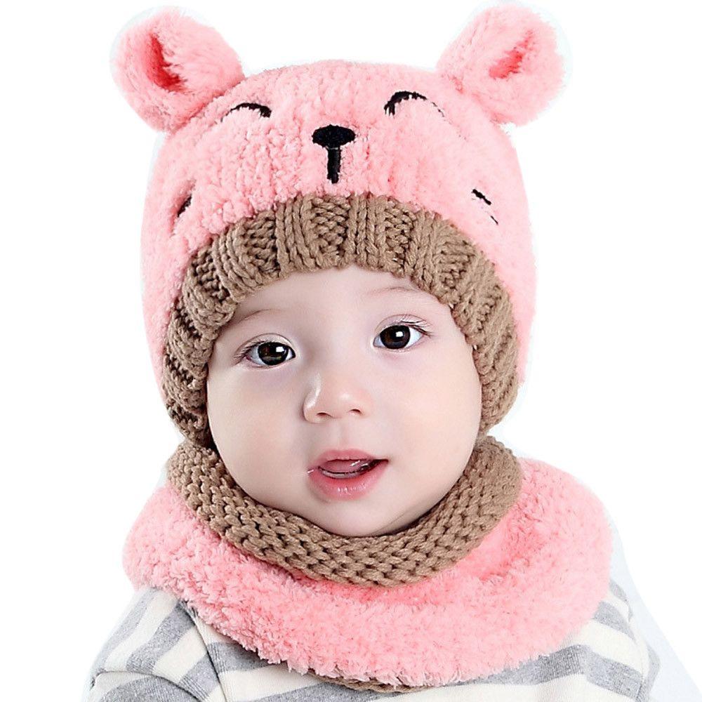 Compre MUQGEW Infantil Chapéu De Malha Chapéu De Inverno Do Bebê Quente  Menino Menina Especial Infantil Bonito Macio + Cachecol De Duas Peças Recém  Nascidos ... bfe036371c4
