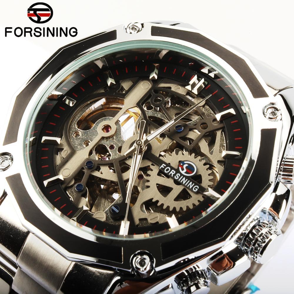 0e85ff4e4bc Compre Homens Relógio FORSINING Relogio Masculino Esqueleto Relógio  Automático Winder Mens Relógios Top Marca De Luxo Relógio De Pulso Mecânico  De Ouro De ...
