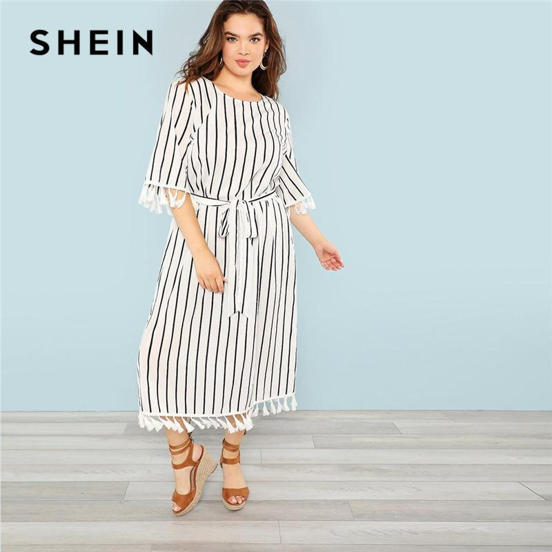 2019 SHEIN Black And White Striped Belted Plus Size Womens Straight ...