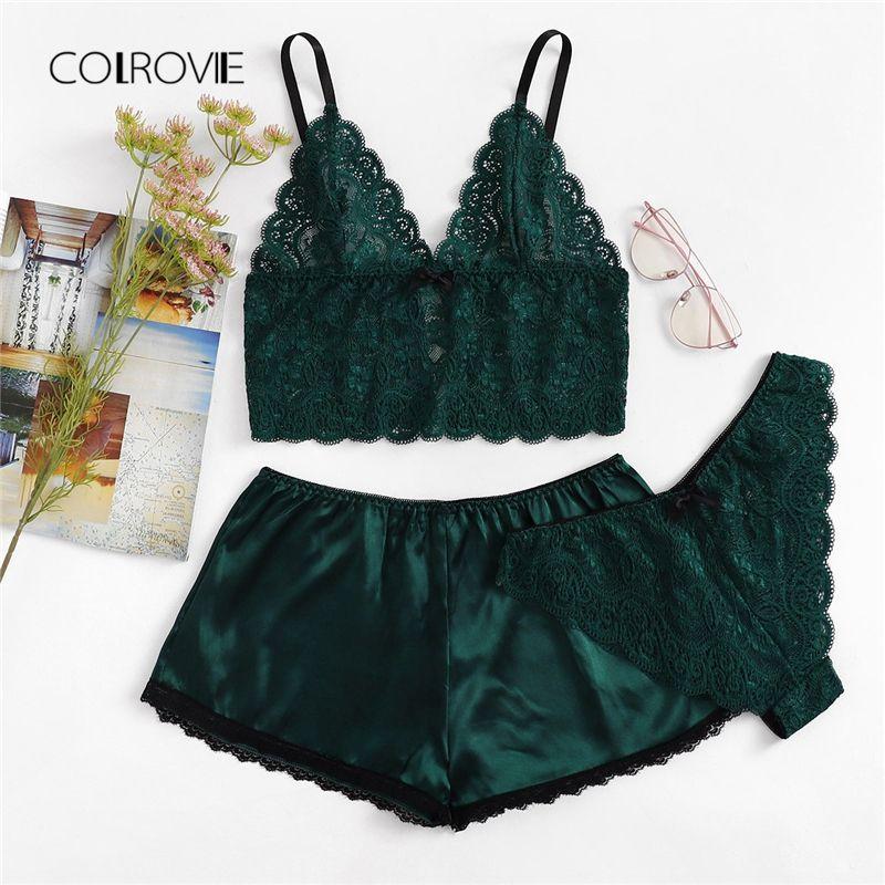 82277f0221 2019 COLROVIE Army Green Sexy Floral Lace Cami Lingerie Set 2018 New  Burgundy Women Bra   Brief Sets Wireless Sexy Underwear Bra Set From  Zhaolinshe