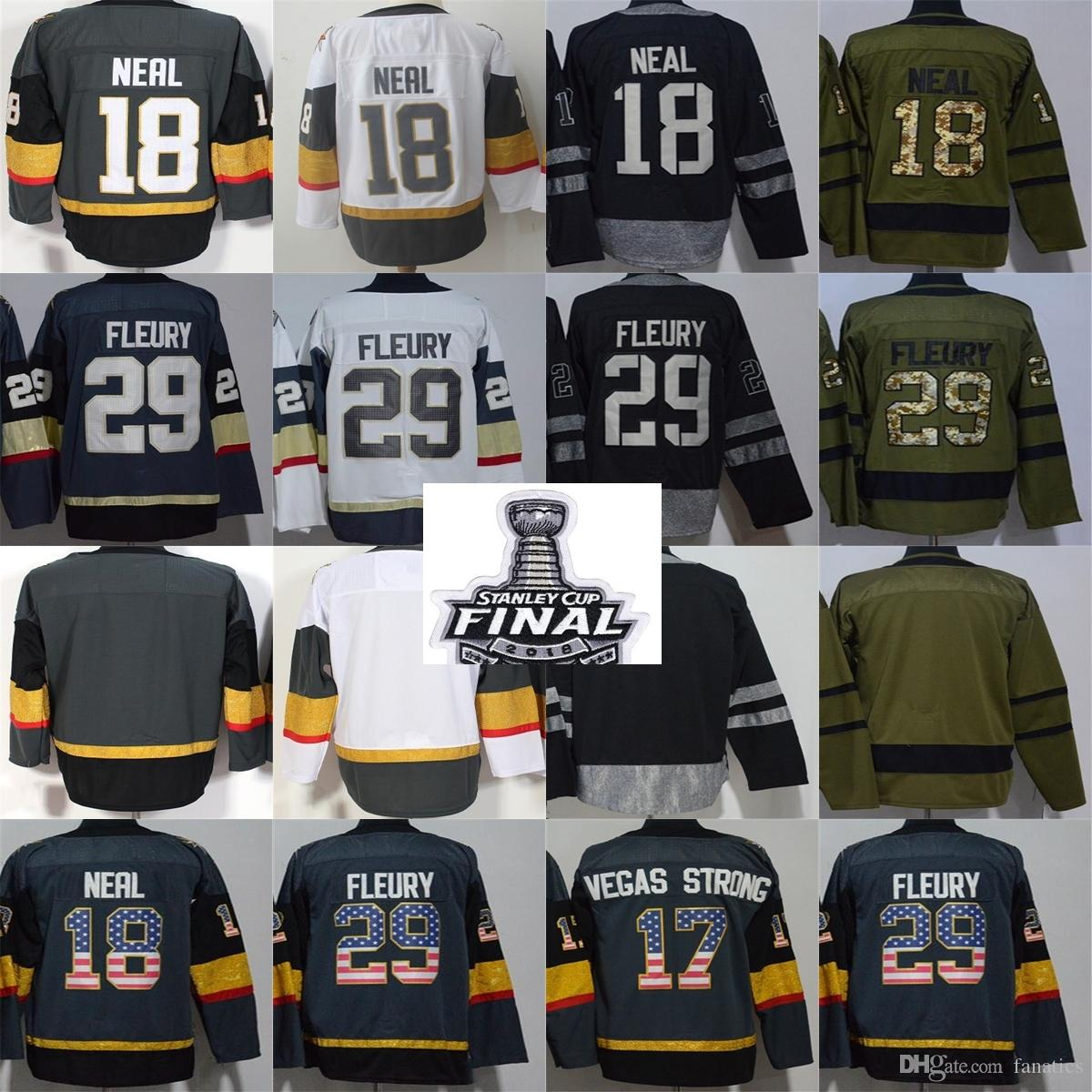 38c8925b7 2018 Stanley Cup Final Patch Men Vegas Golden Knights 29 Marc Andre Fleury  18 James Neal Blank Grey White USA Flag Black Hockey Jerseys UK 2019 From  ...