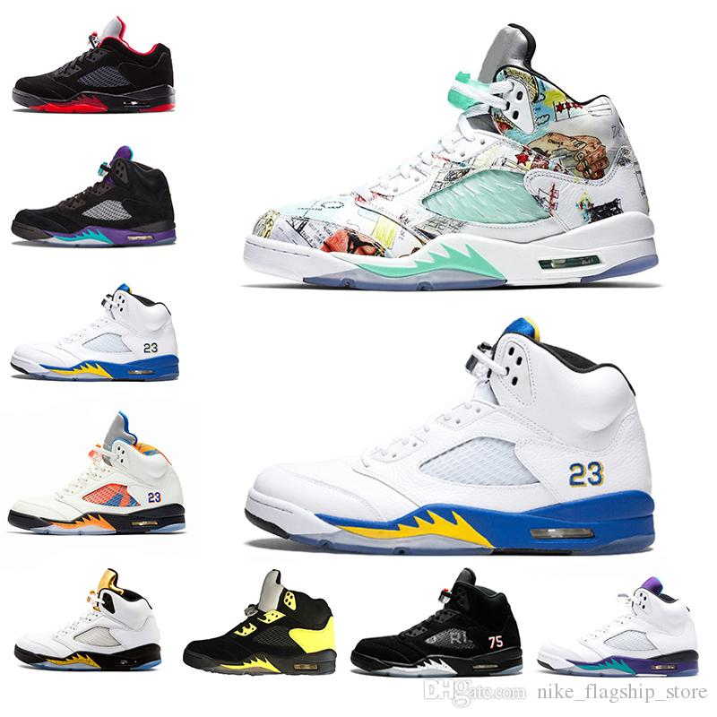 5beaa0be77c0 2019 New Wings 5 5s Mens Basketball Shoes PSG Black White Grape Laney  International Flight Fresh Prince Sports Sneakers Designer Shoes 41 47 Best  Basketball ...