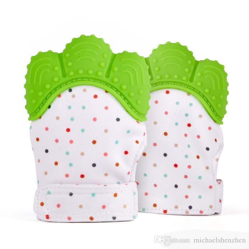 Silicone Teether Baby Pacifier Glove Baby Teething Glove Newborn Nursing Mittens Teether Chewable Nursing Beads for Infant Baby B001