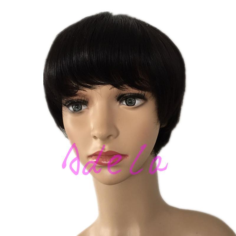 unprocessed короткие полные парики волос Отрезока человека шнурка шнурка с челкой Виргинские индийские Glueless людские короткие парик фронта шнурка волос для черных женщин