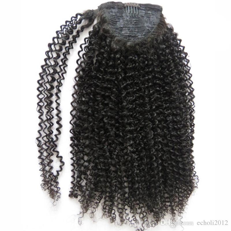 Jet black 3c 4b afro kinky encaracolado cabelo humano rabo de cavalo extensão do cabelo 160g natural grande puff cordão rabo de cavalo clipe em