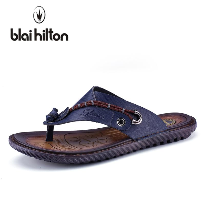 56c79ac36ccc Blaibilton 2018 New Summer Genuine Leather Cow Outdoor Casual Slippers Men  Shoes Flip Flops Beach Slipper Male Designer SD6215 Moccasins For Men Shoe  Sale ...