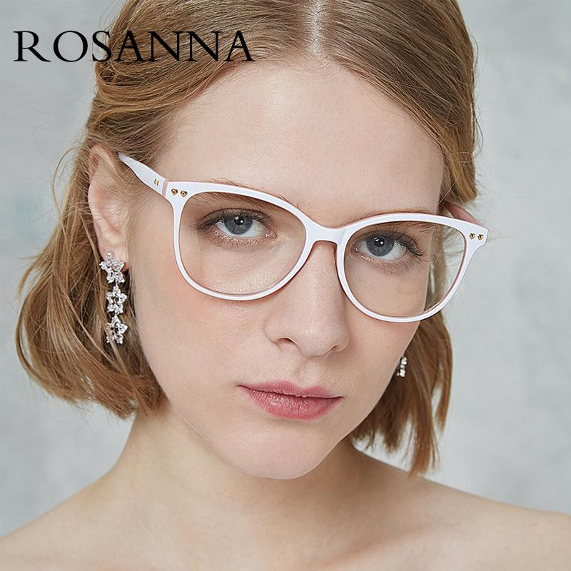 49ef51cf32 2019 ROSANNA Fashion Women Cat Eye Glasses Frame 2019 Brand Designer Ladies  Rivet Frame Clear Lens Eyewear No Degree Oculos UV400 From Shemei