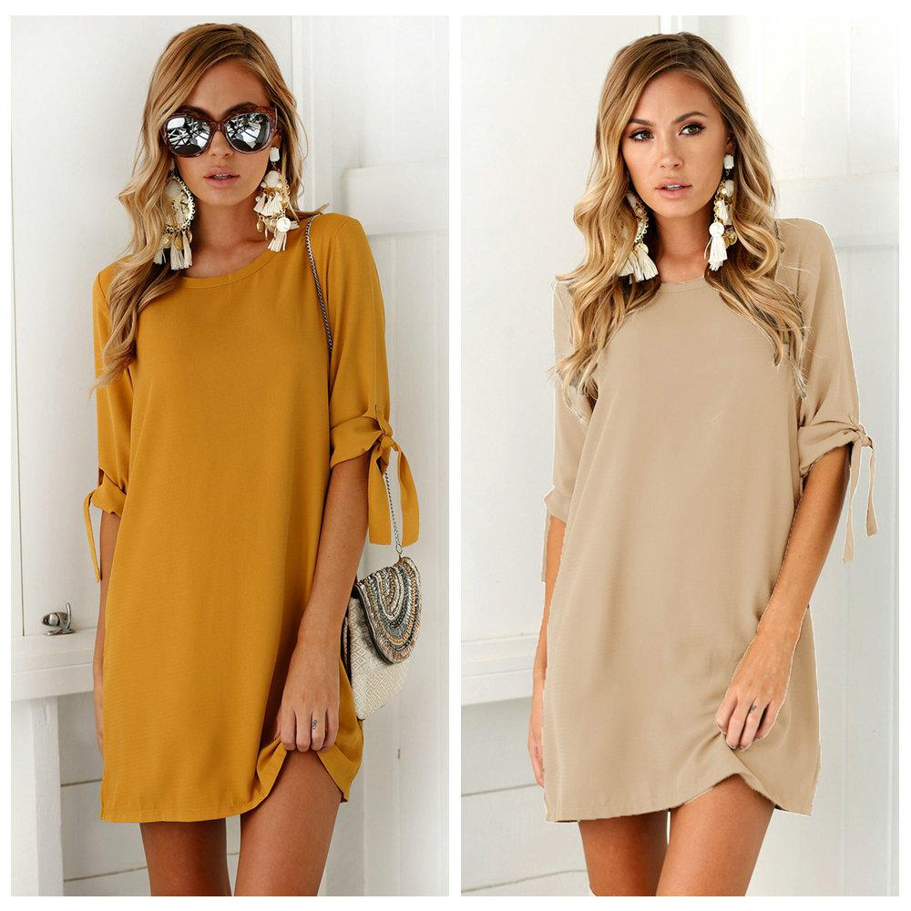 281c3a9afd833 S 3XL Autumn 2019 Elegant Casual Women Dresses O Neck Short Dress Plus Size  Loose Dress Solid Colour Women Clothing Vsetidos Trendy Dresses Dress Style  From ...