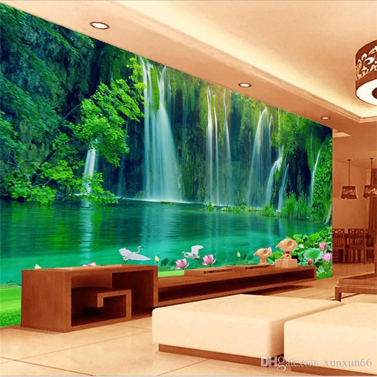 Sem costura em grande escala mural 3d estéreo paisagem TV sala de estar fundo decorativo papel de parede papel de parede cachoeira flor de lótus
