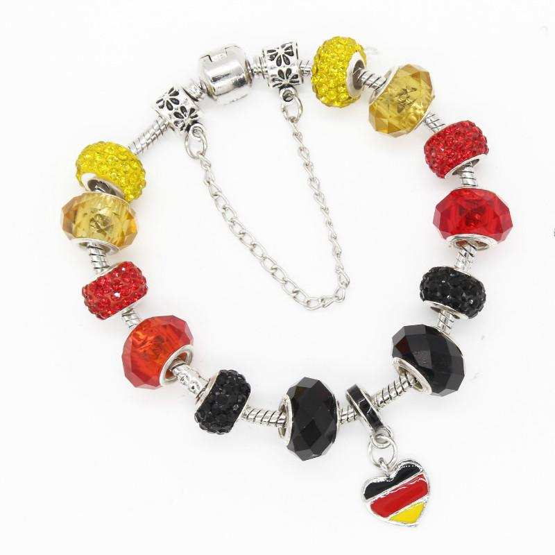 Poshfeel Diy Germany Flag Charm Bracelets For Women With Glass Beads Crystal Jewelry Pulsera Mbr170307