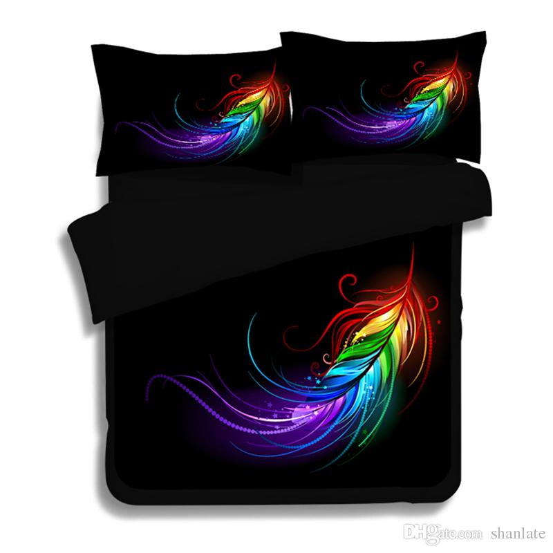 Gift Beautiful Peacock Feathers Plumes Pattern Bedding Set Duvet Quilt Cover With 2 Pillowcase Twin Full Queen King Size Youth Bedding Discount Designer ...