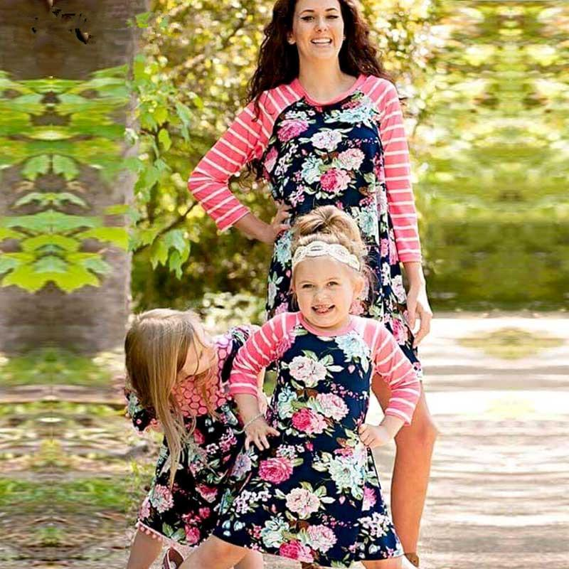 ac43a4b46c Mother Daughter Dresses Family Look Matching Outfits Meganium Striped  Floral Print Mommy And Me Clothes Vintage Dresses Family Photos Gone Wrong  Fall Family ...