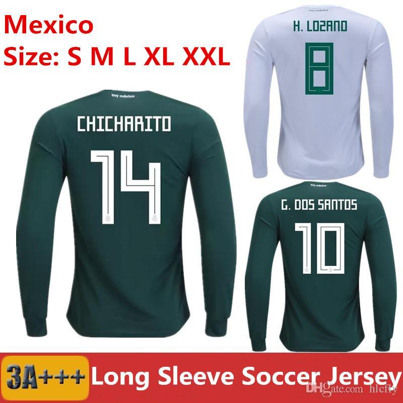 H LOZANO Camiseta De Fútbol México Manga Larga 2018 CHICHARITO R MARQUEZ G  DOS SANTOS Camiseta De Fútbol Copa Mundial Camisetas De Futbol Uniforme Por  ... b767005d0e2c5