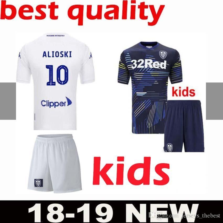 18bf61fe4 2019 18 19 Leeds United Kids Soccer Jerseys 2018 2019 Leeds Home Away Child  Shirts ALIOSKI JANSSON BAMFORD COOPER SAIZ ROOFE Boys Football Shirt From  ...