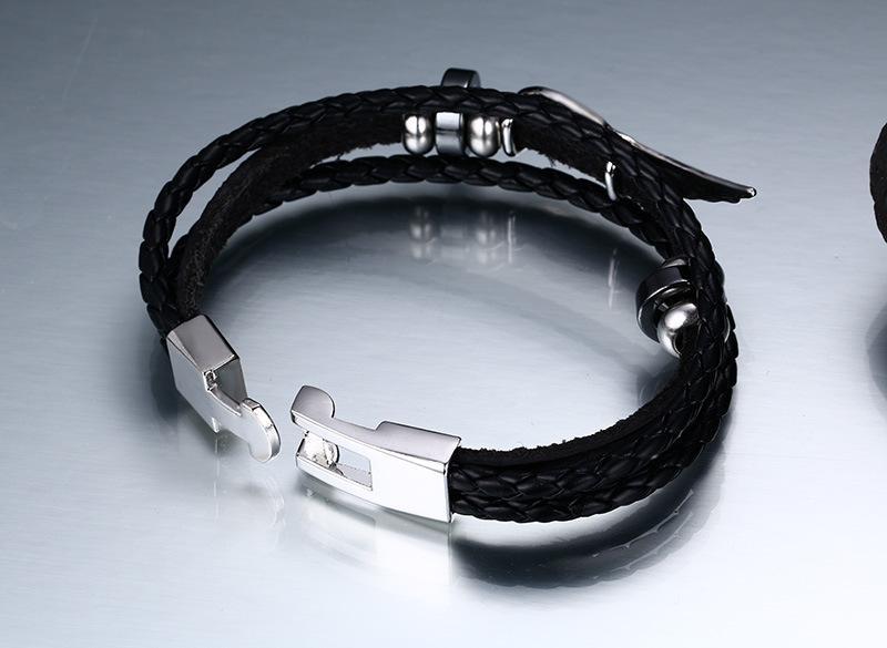 Modyle High Quality New Fashion Jewelry PU Leather Bracelet Men Angel Wings Bracelets for Women Best Friend Gift