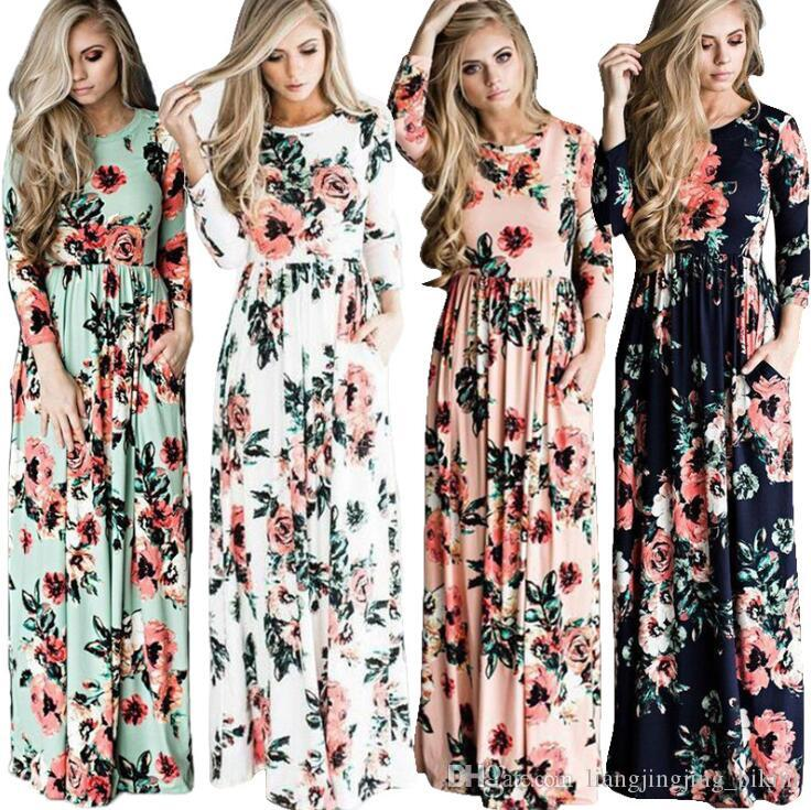 Women Floral Print 3 4 Sleeve Boho Dress Evening Gown Party Long