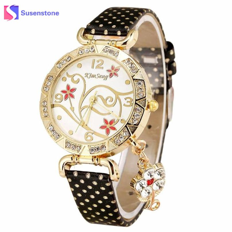 2017 New Arrival Women Watch Vintage Retro Bracelet Watches Women Flower Rhinestone Ladies PU Leather Quartz Dress Wrist Watch