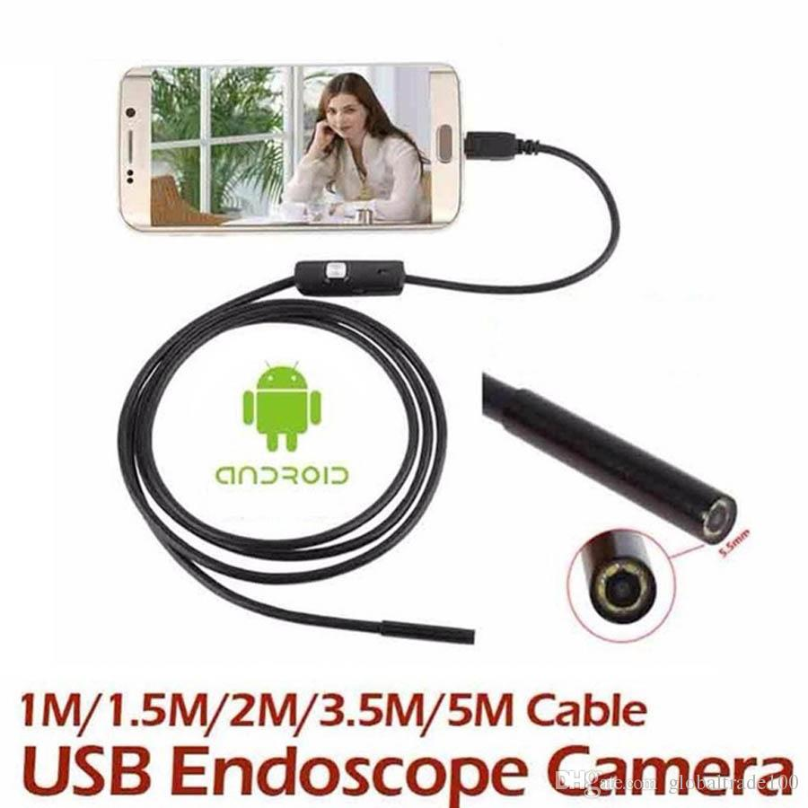 Newest 5.5/7mm 1M 2M 5M Waterproof Mini Android Endoscope USB Wire Snake Tube Inspection Borescope Compatible For Android 1.3MP Camera
