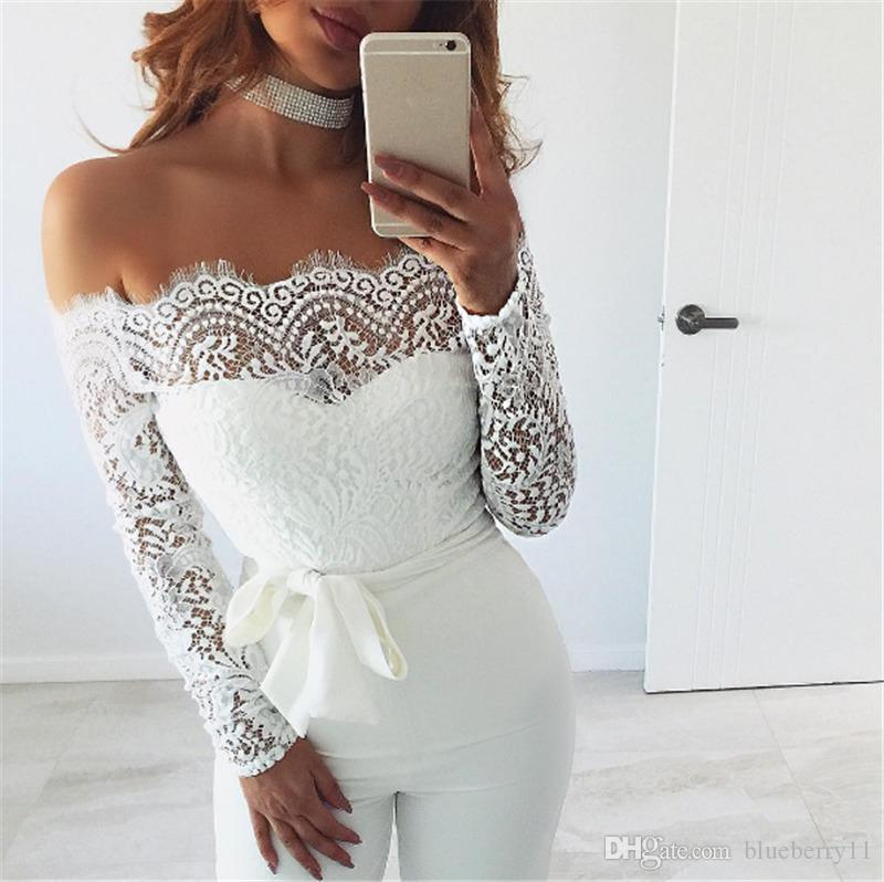 ae9ff041280 2019 Women Sexy Off Shoulder Long Mesh Sleeve Trousers Jumpsuits White Lace Playsuit  Jumpsuit Black Plus Size S XL From Blueberry11