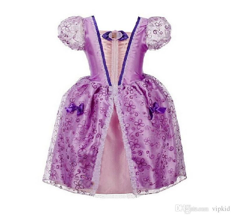 Multicolor cute dress girl dress vintage flower dress purple Cotton princess aurora flare sleeve