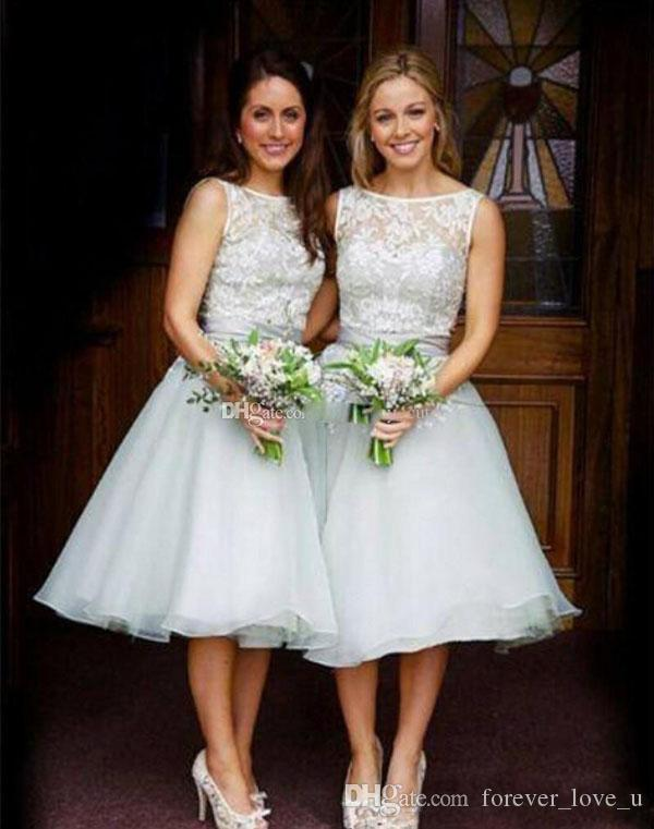 Country Bridesmaids Dresses Short Knee Length Bridesmaid Dress Sheer Bateau Neck Sleeveless Lace Top Custom Made Wedding Party Gowns