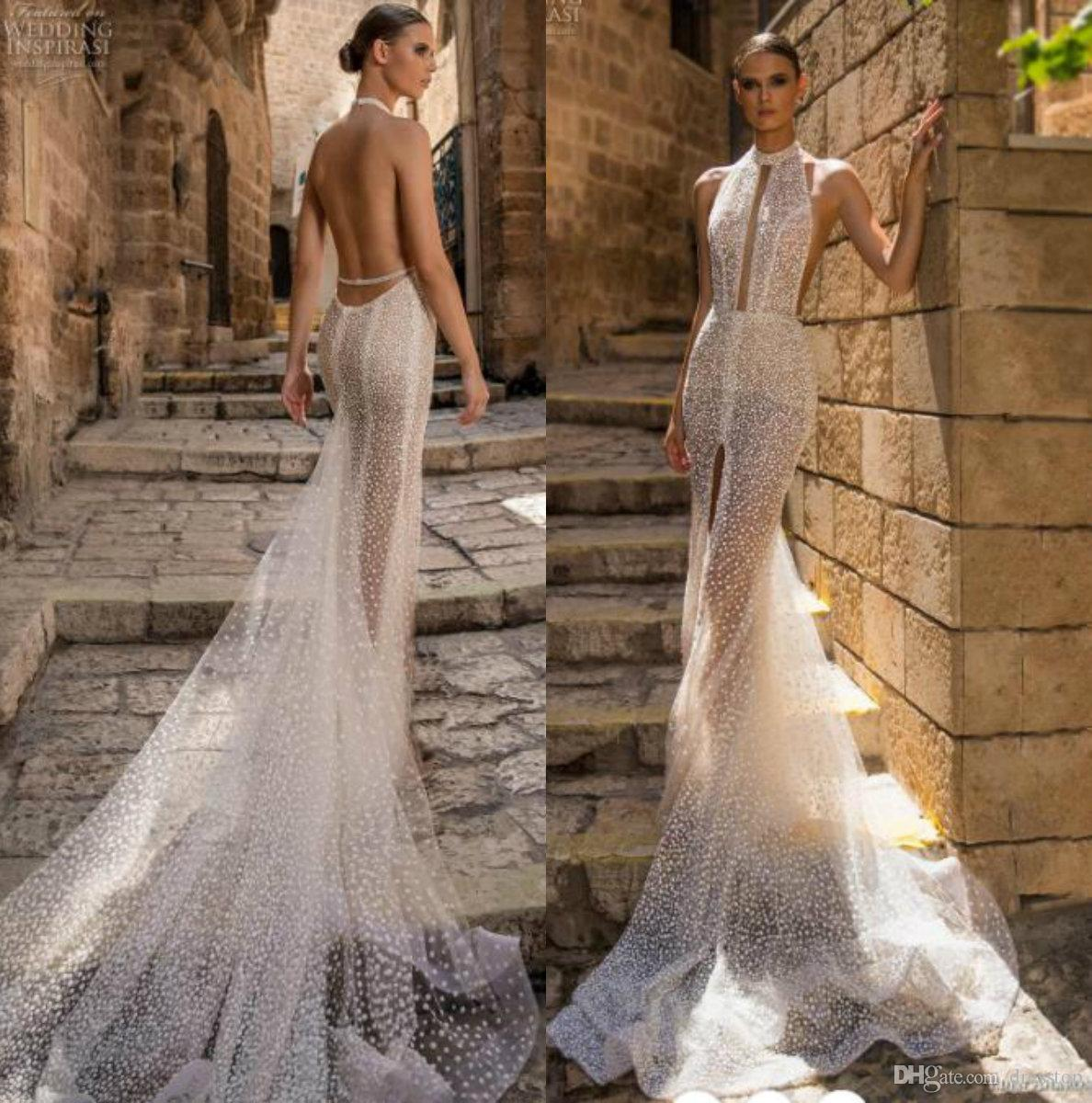 d3010e468203 Eden Aharon 2019 Mermaid Wedding Dresses Halter Dot Lace Bridal Gowns  Backless Beach Boho Plus Size See Through Wedding Dress Wedding Dress Sale  Wedding ...