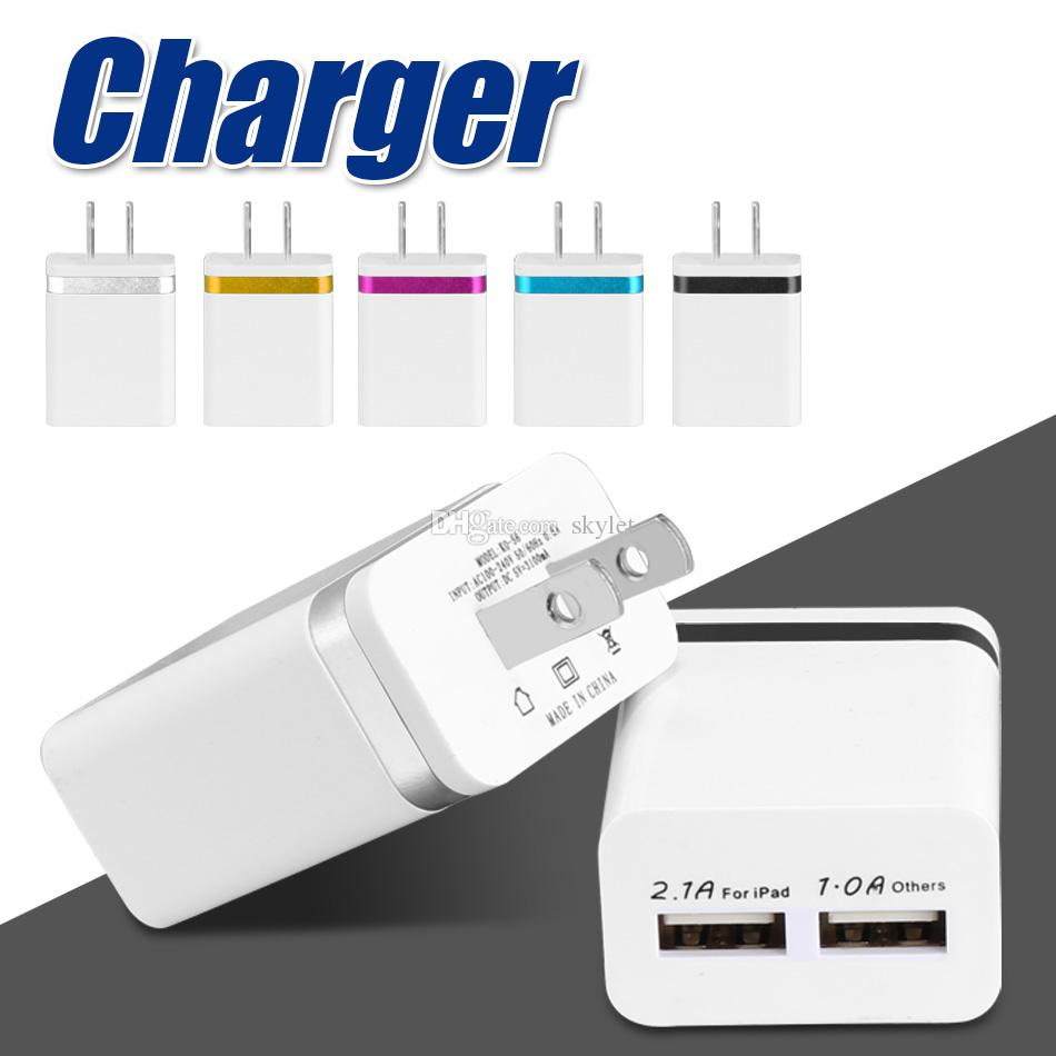 NOKOKO High Quality Wall Charger Metal Dual USB For Samsung S8 S7 2 Ports US EU Version Travel Adapter For Universal Smart Phones No package
