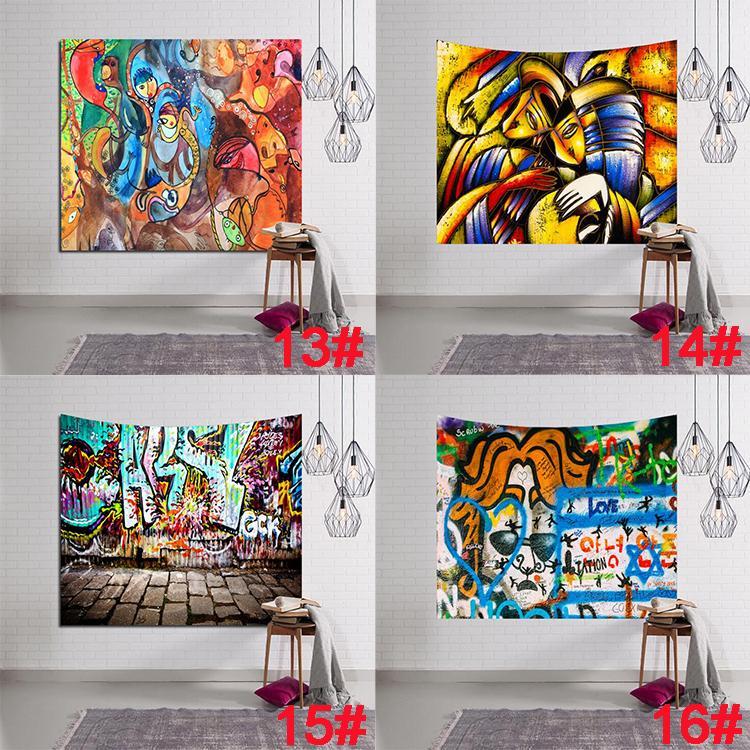 Patrón de graffiti Tapiz Retro Digital Impreso Serie de Pintura Al Óleo Tapices Colgantes de pared Tapiz Toalla de Playa Manta Decoraciones Para El Hogar