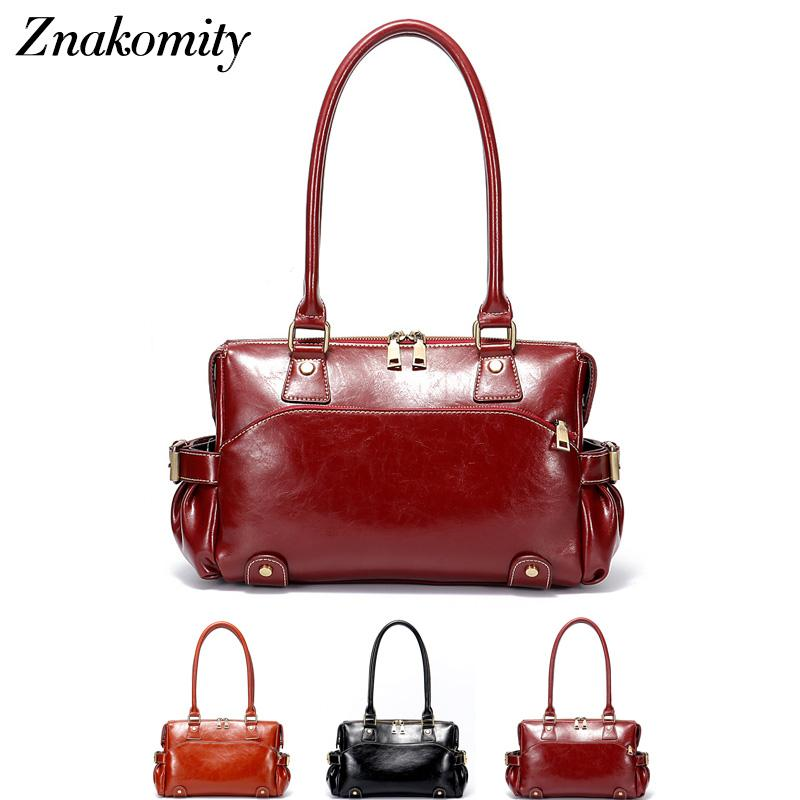 36078e8a5d25 Znakomity New Shoulder Bag Real Women S Genuine Leather Handbag Wine Red  Fashion Brown Black Tote Bag Top Handle Hand Bags Women Reusable Grocery  Bags ...