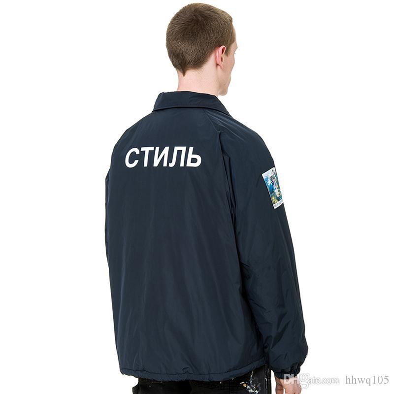 Heron Preston Style Jacket Men S Long Sleeve Button Up Navy Black