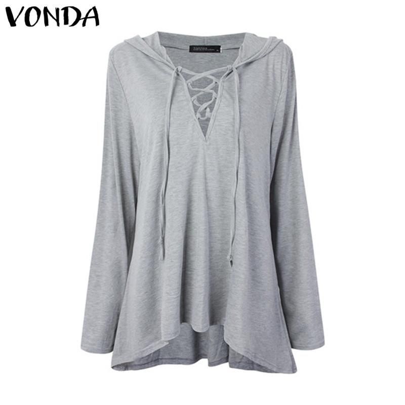 c573828bbaddc 2019 2018 VONDA 2018 Women Pregnant Blouses Shirts Casual Loose Sexy V Neck  Solid Shirts Plus Size Maternity Clothings Pregnancy Pullovers From  Z6241163