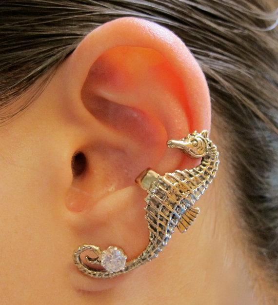 LM-C181 Date Punk style oreille manchette usine directe en gros mode oreille manchette glod plaqué cheval de mer boucle d'oreille