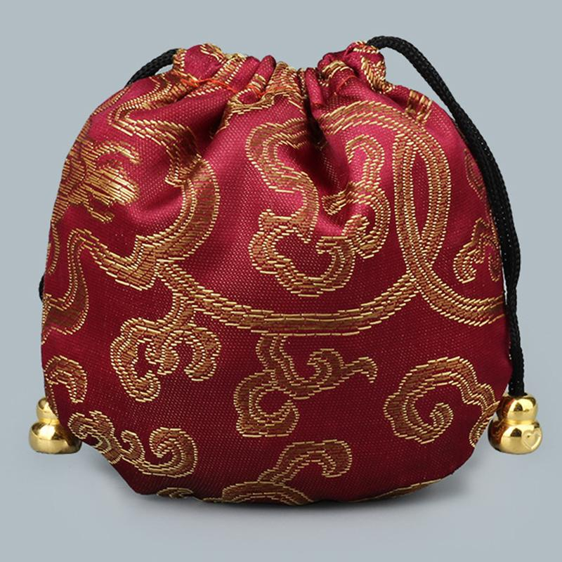 Mini Party Reusable Handmade Fabric Storage Bag Satin Drawstring Chinese Silk Brocade Pouches bag Damask Jewelry Gift Bags