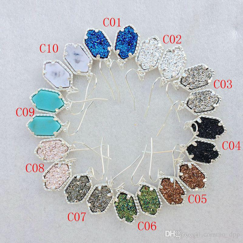 Hot sale Druzy necklaces Dangle Earring Set For women Geometric Natural Drusy stone pendant charm chains Female Fashion Jewelry