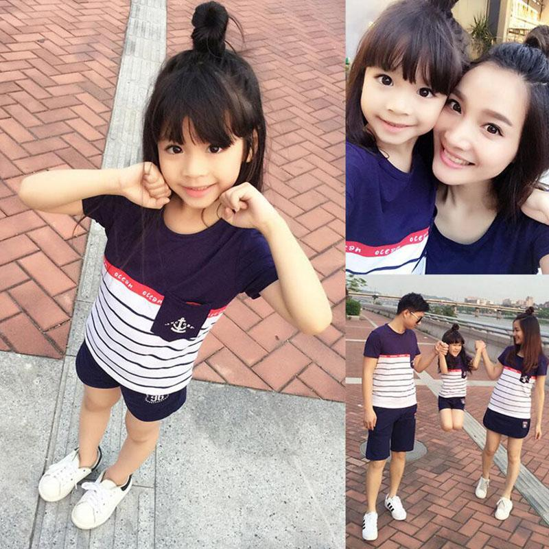 Family Look 2018 Summer Family clothing Mother Daughter Dress Family Matching Outfits Cotton Father Son T-shirt and pant