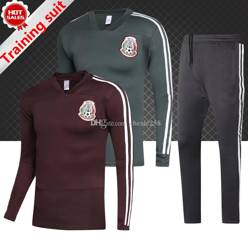 Compre Conjunto De Chándal De Fútbol De México Calidad SUPERIOR México 2018  Copa Del Mundo Camiseta De Manga Larga Verde Entrenamiento De Fútbol  Camiseta De ... 50a6f033d6212