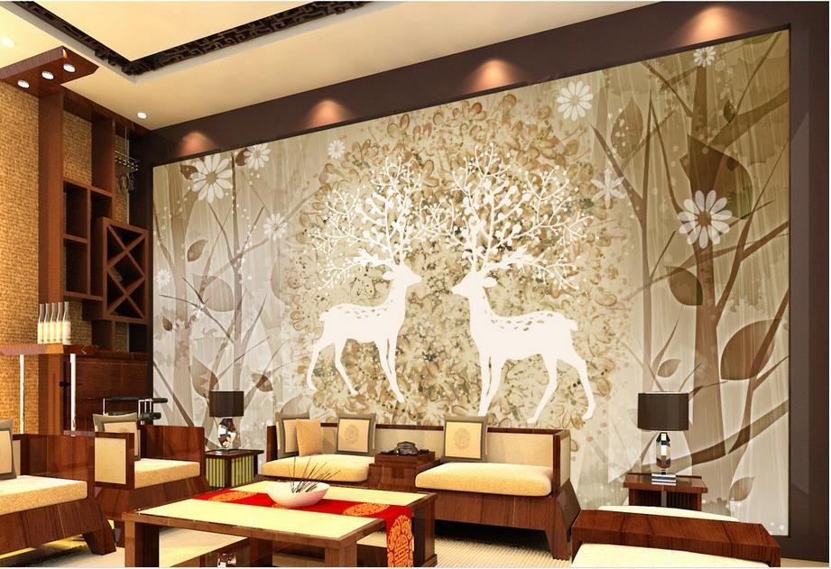 Grosshandel Customize 3d Wallpaper Wande Elk Wald Abstrakte
