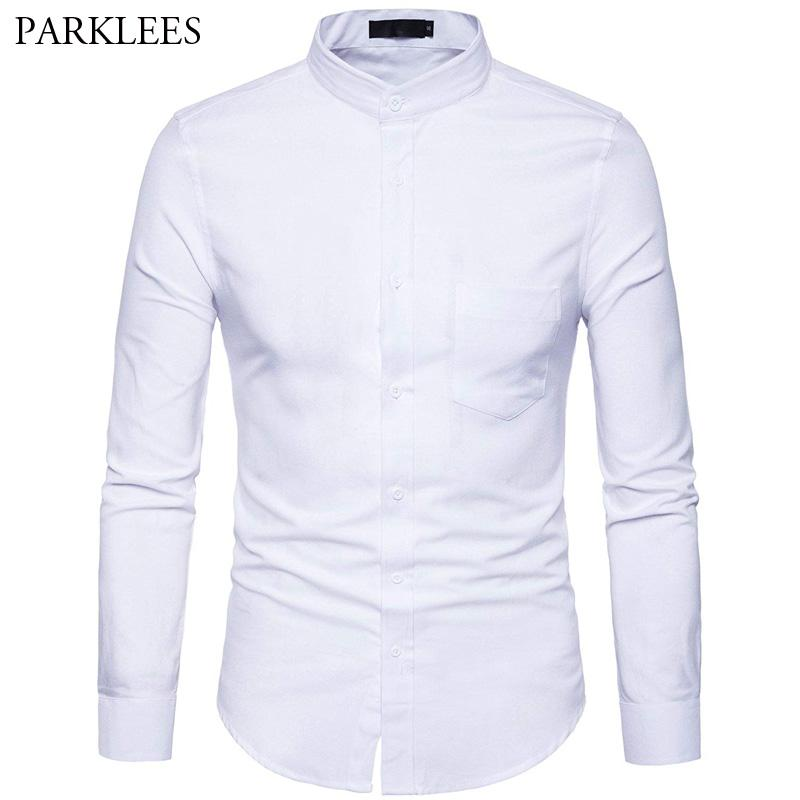 5178f7178e1 2019 Men S Oxford Dress Shirt Slim Fit Long Sleeve Mandarin Collar Dress  Shirts 2018 Spring New Men Casual Shirt For Business Man XXL From Morph1ne