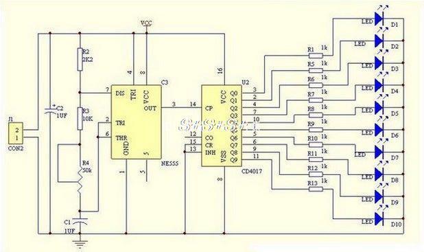 Smart Electronics Module de bricolage à DEL pour lumière LED NE555 + CD4017 intégré