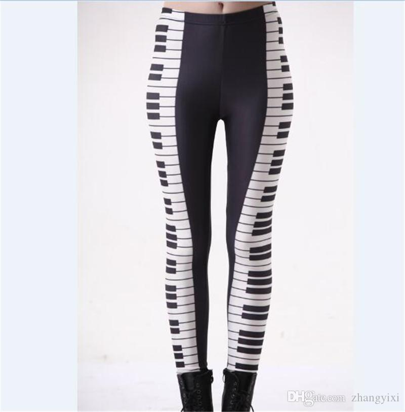 Wholesale Free Shipping S-4XL Women Black And White Piano Music 3D Digital Print Milk Leggings Plus Size Girl Tights