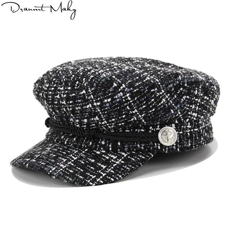 Acheter 2019 Mode Solide Visière Chapeau Automne Et Hiver En Laine Vintage  Patchwork Beret Cap Pour Les Femmes Angleterre Style Flat Cap De  14.19 Du  ... 9a965e87ba0
