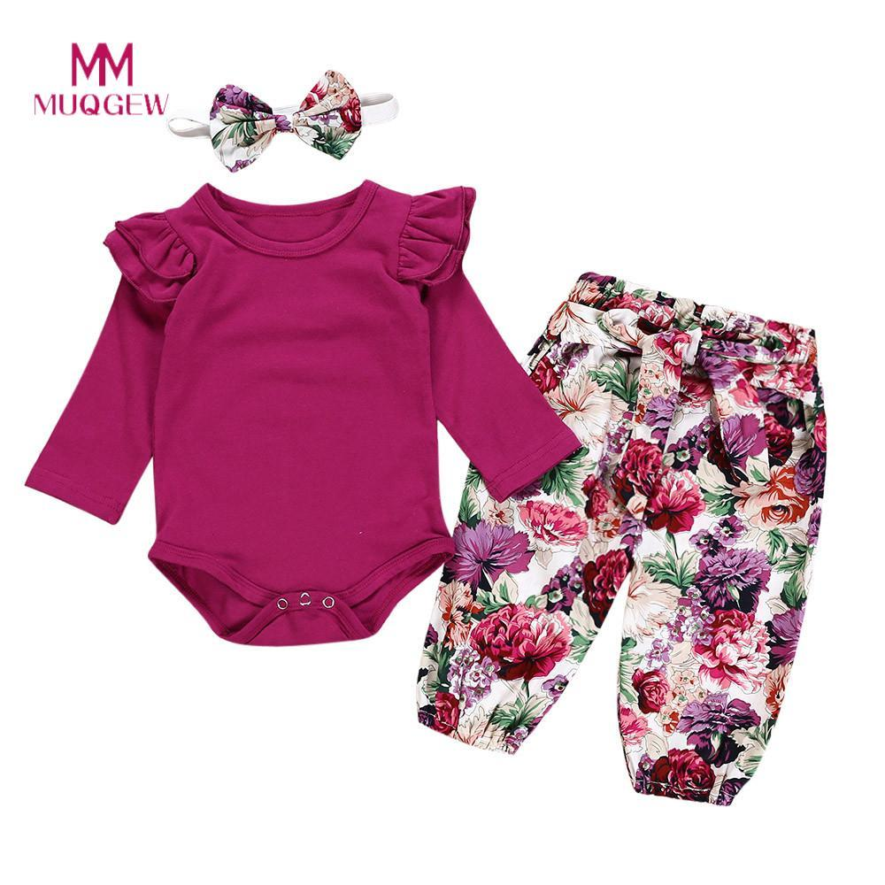 7da11df691 2019 MUQGEW Infant Baby Girls Clothes Long Sleeve O Neck Ruched Romper  Jumpsuit Floral Print Pants Headband Outfits Set Kids Clothes From Oliveer