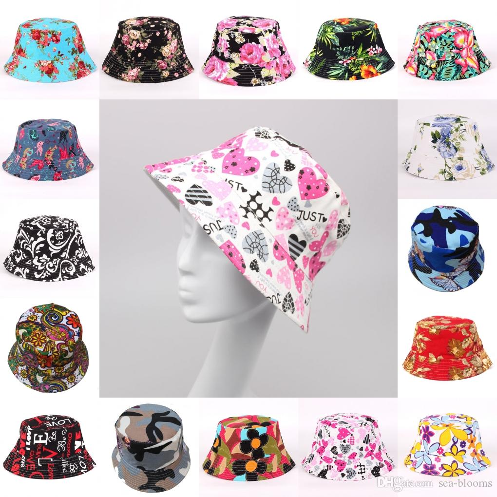 b9234114d9fa0 2019 Bucket Hat Fisherman Chips Floral Canvas Hat Printed Sun Hat Summer  Holiday Novelty Beach Hats 20 Styles UV Protection Free DHL G850F From Sea  Blooms