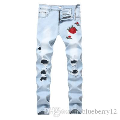 Rose Embroidery Men's Jeans Hi-Street Slim Fit Black Blue Elastic Jeans Men's Broken Hole Denim Jeans