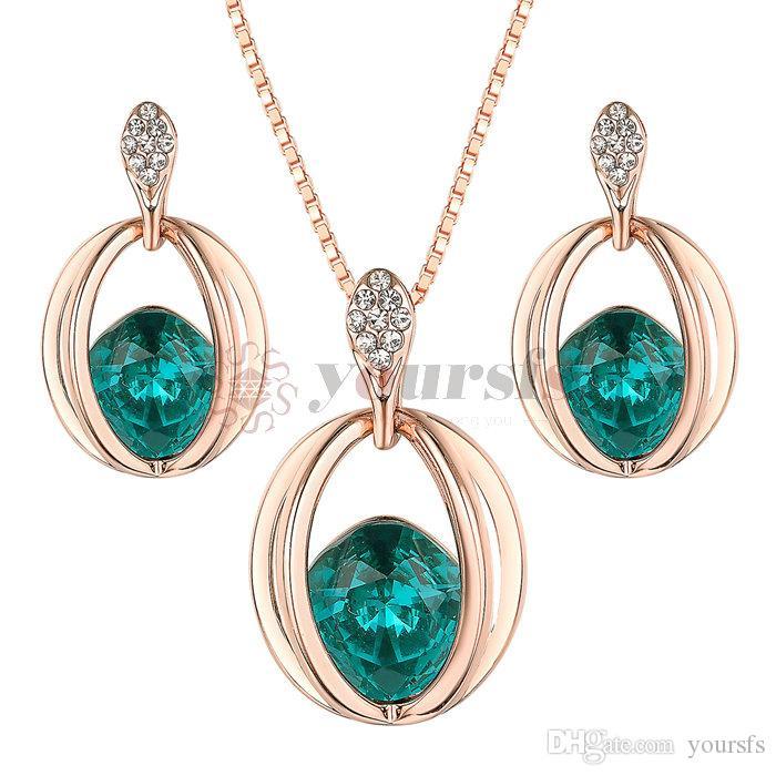 5ff6e69d012f Compre Yoursfs Vintage Jewelry Set Cristal   CZ Pendientes Collar Filigrana  Diseño Nupcial Joyería Set S861R1 A  16.64 Del Yoursfs
