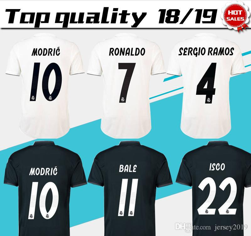 c2737ba83f4 2019 Real Madrid Home White Soccer Jersey 18 19 Real Madrid Home Soccer  Shirt 2019 #7 RONALDO #20 ASENSIO #22 ISCO #12 MARCELO Football Uniforms  From ...